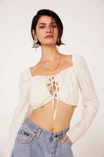 Womens White Quick Fix Lace-Up Crop Top