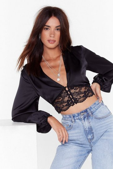 Womens Black Lace Meet Up Cropped Satin Top