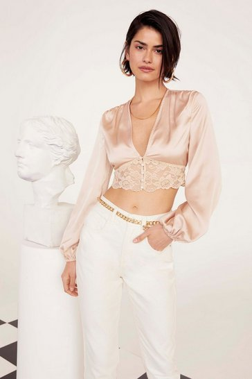 Womens Champagne Lace Meet Up Cropped Satin Top
