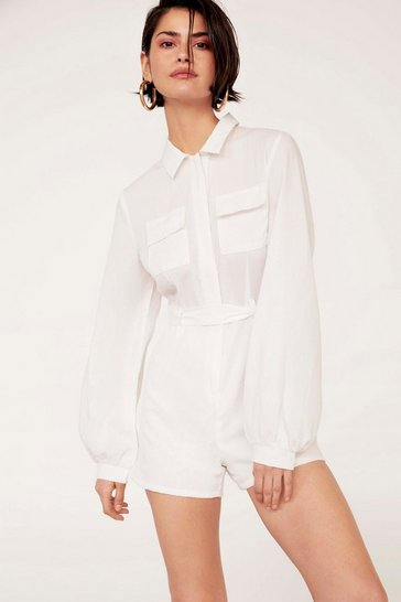 Womens White Only Love Can Shirt Like This Linen Collared Romper