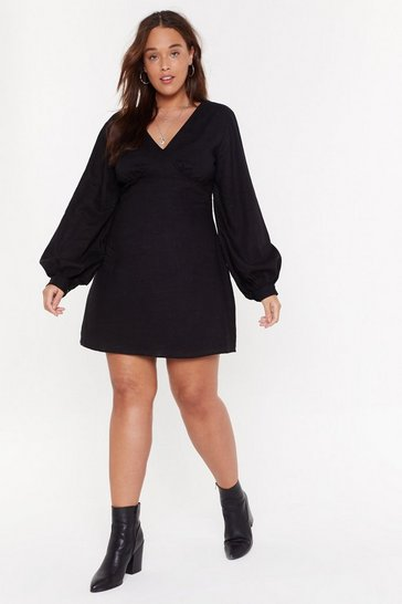 Womens Black Linen V-Neck Volume Sleeve Mini Dress