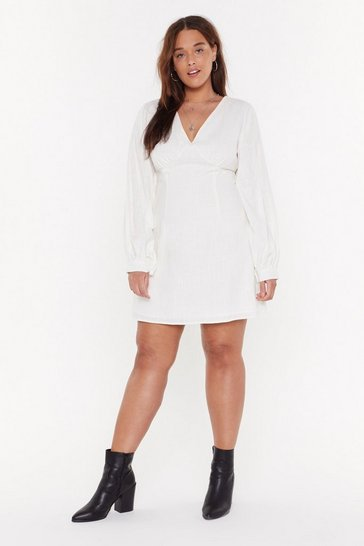 Womens White Linen V-Neck Volume Sleeve Mini Dress