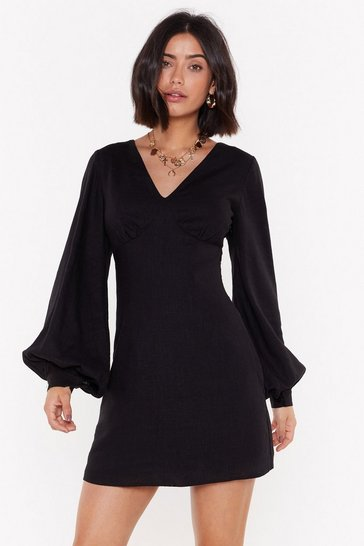 Womens Black V Got Game Linen Mini Dress