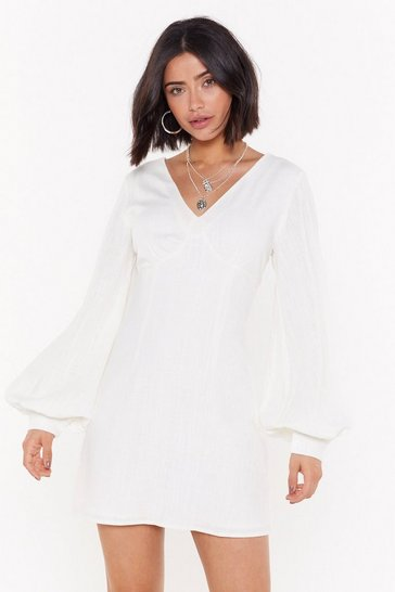 Womens White V Got Game Linen Mini Dress