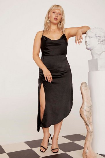 Womens Black Cowl to Be a Heartbreaker Satin Midi Plus Dress