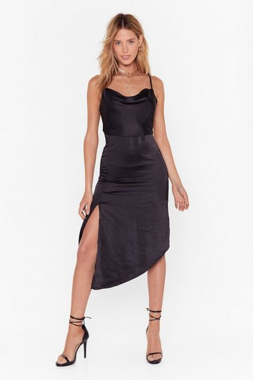 Womens Black Cowl to Be a Heartbreaker Satin Midi Dress