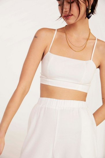 Womens White A Little More Action Linen Crop Top