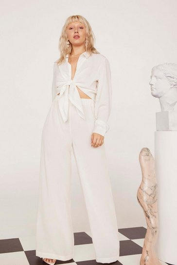 Womens White Lookin' Like a Vision Linen Wide-Leg Plus Pants