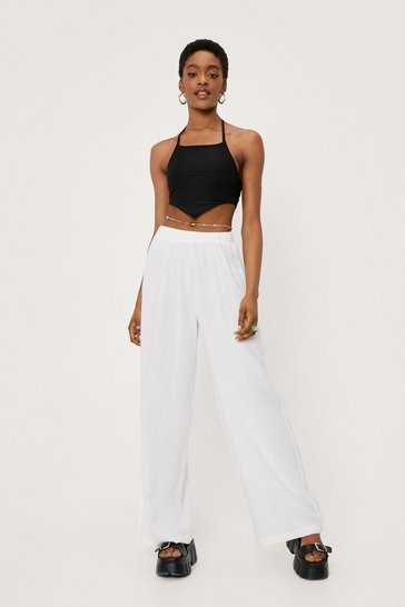 Womens White Lookin' Like a Vision Linen Wide-Leg Trousers