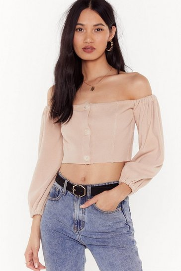 Womens Nude Break Knit Down Off-the-Shoulder Cropped Sweater
