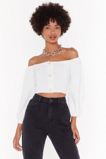 Womens White Break Knit Down Off-the-Shoulder Cropped Sweater