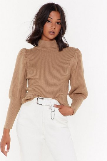 Womens Camel Get Straight to Knit Turtleneck Sweater