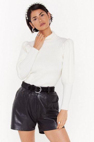 Womens White Get Straight to Knit Turtleneck Sweater