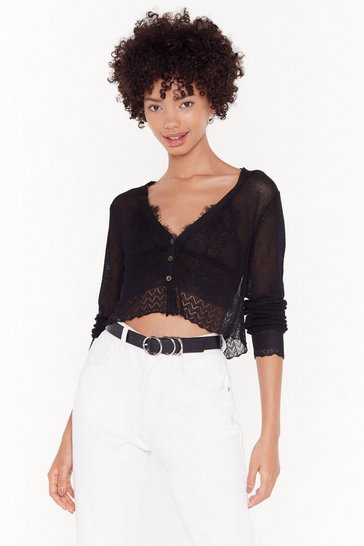 Womens Black Sheer for You Fine Knit Cropped Cardigan