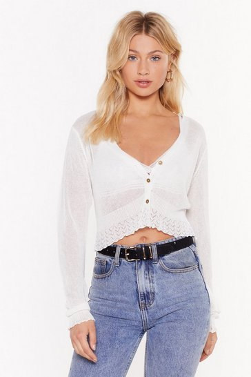 Womens White Sheer for You Fine Knit Cropped Cardigan