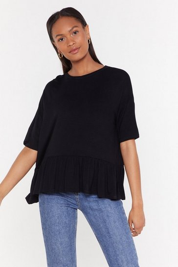 Womens Black Keep It Frill Relaxed Ruffle Tee