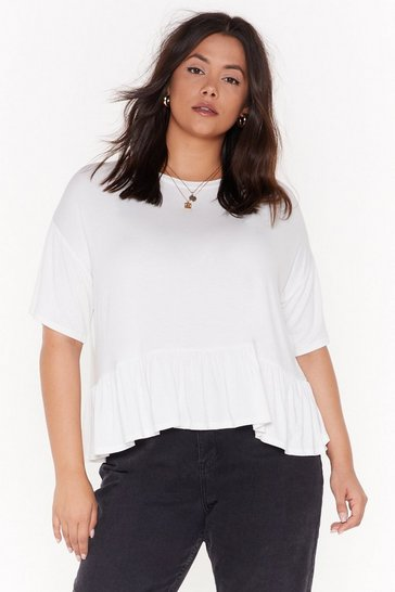 Womens Ivory Keep It Frill Plus Relaxed Ruffle Tee