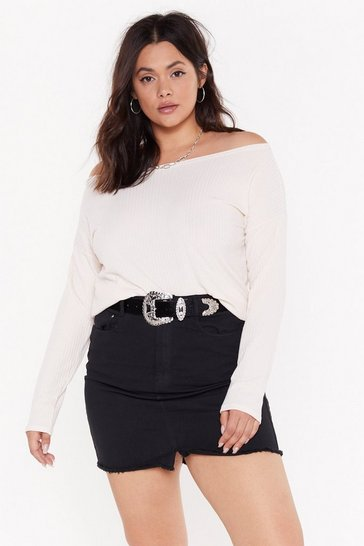 Womens Ivory You Can Pull It Off-the-Shoulder Plus Jumper