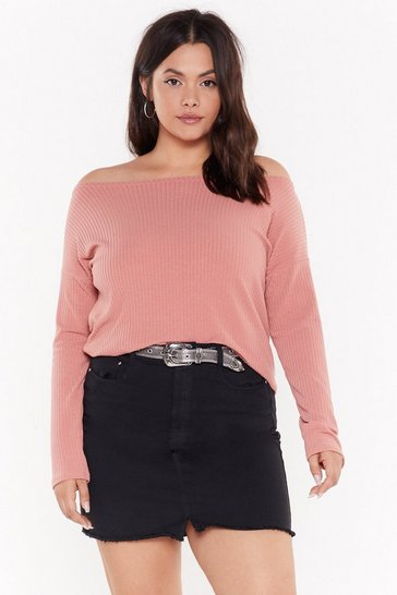 Womens Rose You Can Pull It Off-the-Shoulder Plus Jumper