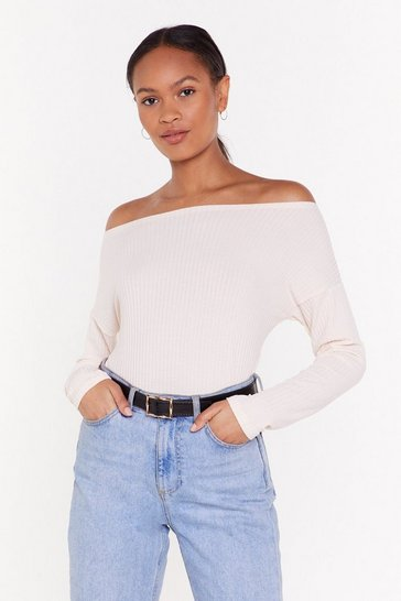 Womens Ivory You Could Be the One Shoulder Ribbed Top