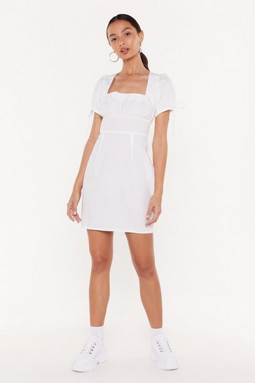 Womens White Bust in Time Puff Sleeve Mini Dress