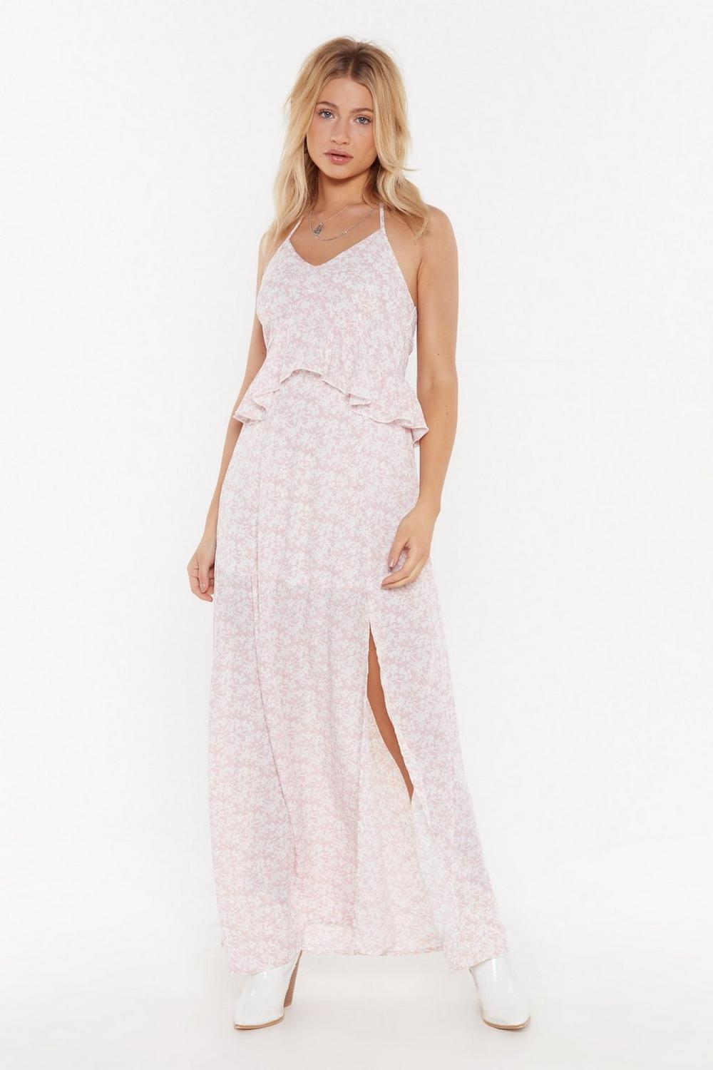 Let's Halter the Ending Floral Maxi Dress