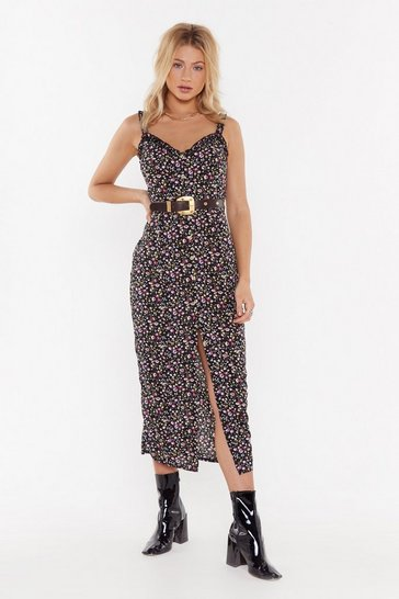 Womens Black Flower Mad Floral Button-Down Midi Dress