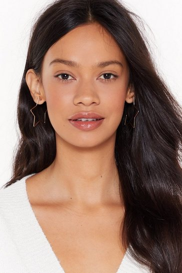 Womens Gold Let's Star-t Over Hoop Earrings