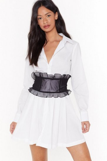 Womens Black Come and Frill Me Organza Corset Belt