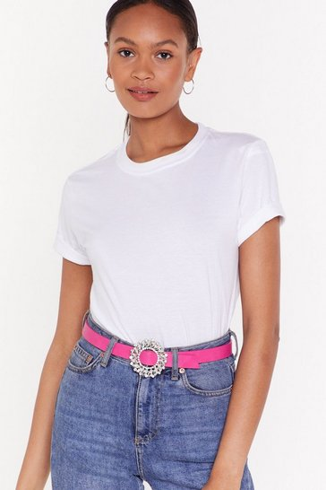 Womens Pink PU Embellished Buckle Belt
