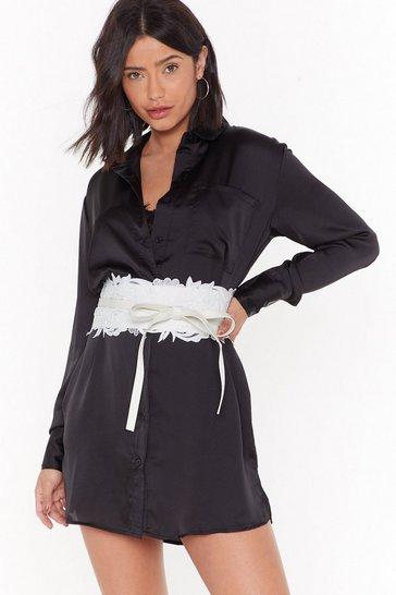 White Lace Around the Clock Lace Corset Belt