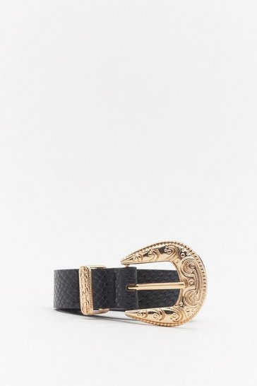 Womens Black Go Western Faux Croc Leather Buckle Belt