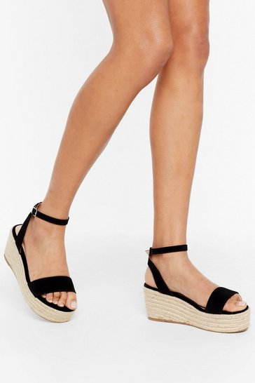Black Woven to Play Faux Suede Platform Sandals