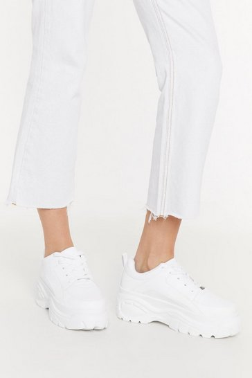 Womens White Platform Low Top Trainers