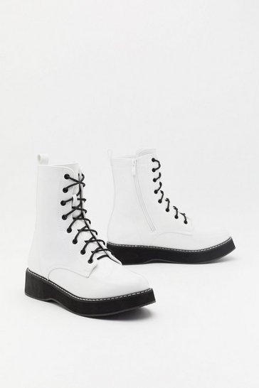 Womens White Lace Up Call Faux Leather Platform Boots