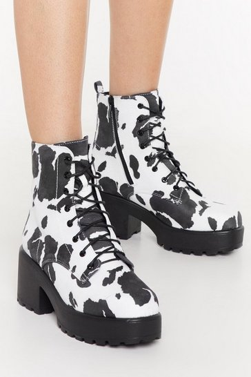 Womens White Cow Print Chunky Lace Up Biker Boot
