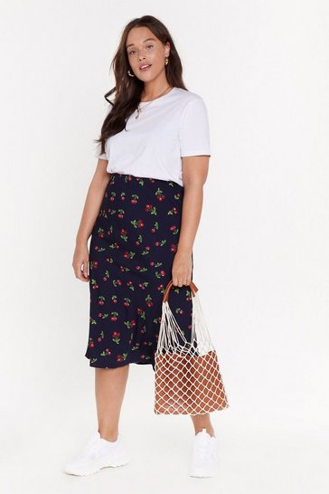 Womens Navy MS Cherry Print Bias Cut Midi Skirt