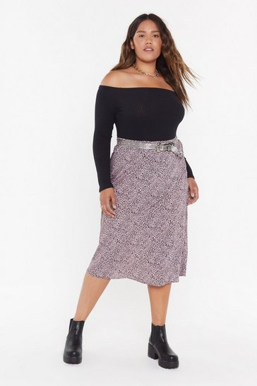 Womens Pink Pwg Mini Leopard Bias Cut Midi Skirt