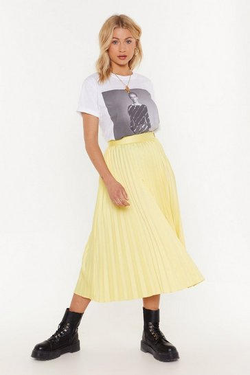 Womens Yellow The Pleat is On Satin Midi Skirt