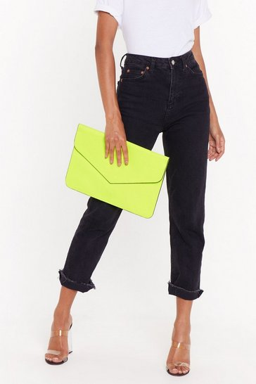 Womens Lime WANT Lip Are Sealed Faux Leather Clutch Bag
