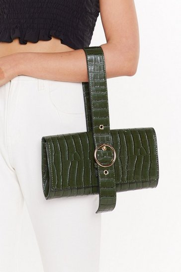 Womens Olive WANT Croc Your Heart Out Faux Leather Buckle Bag