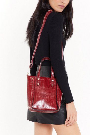 Womens Red WANT Structured in Place Croc Faux Leather Bag
