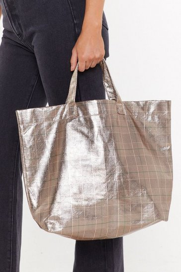 Brown Check That Out Oversized Shopper Bag