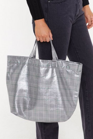 Grey Check That Out Oversized Shopper Bag