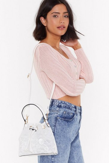 Womens White WANT The Lace Is On Shoulder Bag