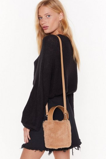 Womens Camel WANT Bucket Off Faux Fur Crossbody Bag