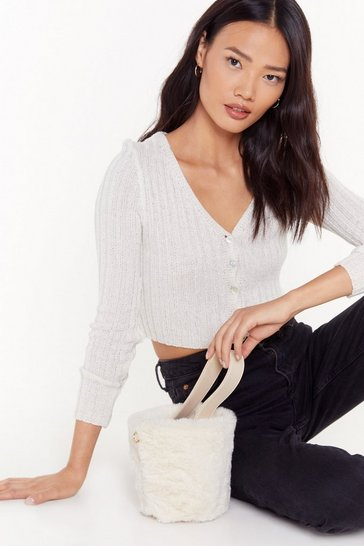 Cream WANT Bucket Off Faux Fur Crossbody Bag