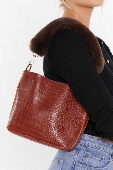 Womens Brown WANT Before I Fur-get Faux Fur Shoulder Bag