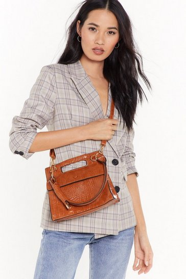 Womens Cognac WANT A Day in the Life Croc Crossbody Bag