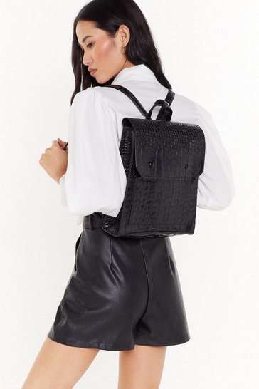 Womens Black WANT Don't Croc Back Structured Backpack